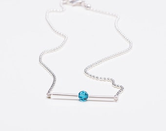 Elegant filigree ball necklace with sparkling Swarovski Crystal in 4 different colours