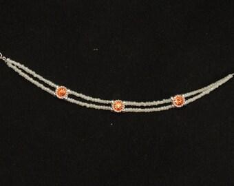 Orange and White Double Strand Bracelet