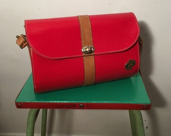 Vintage 1970s Red Patent Leather Barrel Bag - Made in the USA