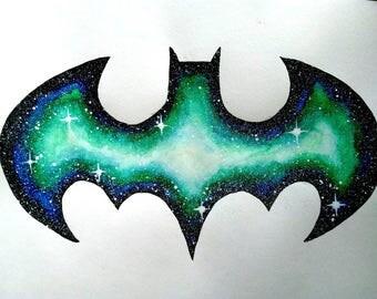 Batman Cosmic Galaxy Watercolor Painting #001