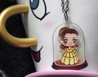 Disney Princess Beauty and the Beast Belle Chibi Cartoon Yellow Ballgown Bell Jar Reversible Double Sided Clear Printed Acrylic Necklace