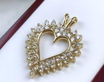"The ""Heart I"": 14K Gold and Diamond Heart Pendant - 1.2 Carat Genuine Diamonds"