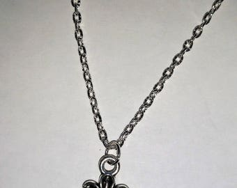Necklace pendant Pink cat black and white knot