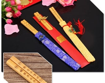 Personalised Engraved Chopsticks/ Party Gifts/Wedding Favours (50 pairs)