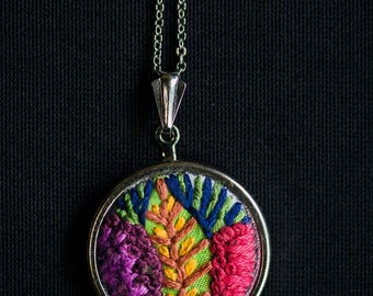 Tropical Embroidered Pendant - Mothers Day Gift - Bold Necklace - Mothers Day Jewelry Gift - Mom Gift - Unique Necklace - Statement Jewelry