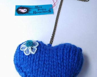 Hand knitted wool Heart Necklace
