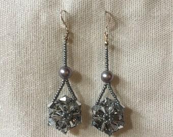 Crystal Flower Drop Beaded Earrings
