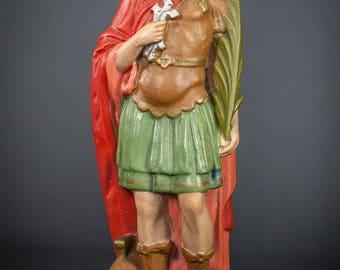 RARE Antique Saint Donatus Plaster Statue Vintage Hand Painted St Figurine