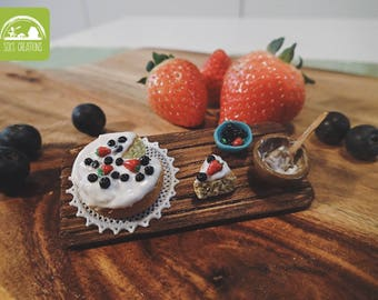 Miniature Baking Scene - Strawberry and Blueberry Cake