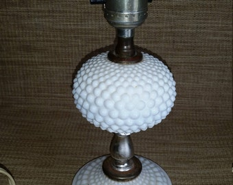 Mid-Century 1950's Vintage Milk Glass Hobnail design bedside table or accent lamp ~NO shade or globe