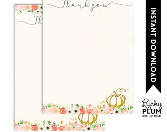 Pumpkin Thank You Card / Fall Thank You Card / Autumn Thank You Card / Farmers Market Thank You Card / DIY Printable