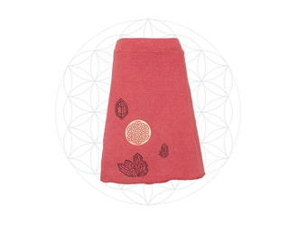 Organic Skirt -Printed with Flower of Life and Crystals - Organic Cotton and Hemp Skirt- Handmade and dyed to order
