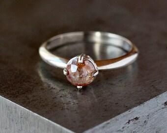 Rose Cut Diamond Ring, 18k Palladium White Gold Engagement Band, Unique Engagement Ring, Prong Set Natural Color Diamond, Conflict Free