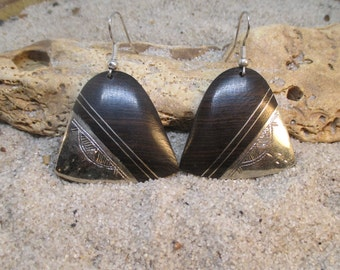Old Tuareg Silver and Ebony Bell-Shaped Etched Earrings