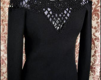 Vintage Vamp - Gothic Black Knit Top w/Ornate Open Filigree Details and Jet Black Beadwork - Petite to Plus - Ready to Ship!