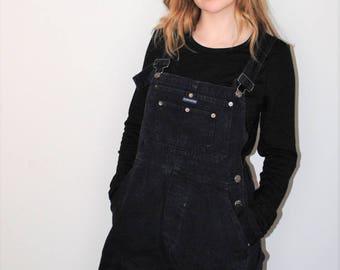 black denim overalls 90s grunge overall shorts shortalls dungarees size medium