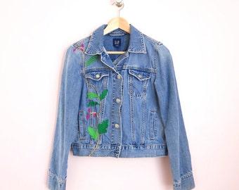 Vintage Jean Jacket | 1990s Gap Embroidered Jean Jacket S