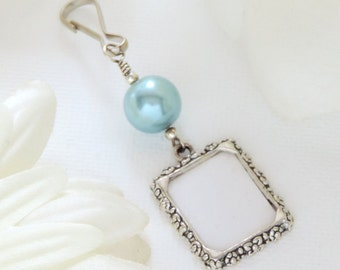 Wedding bouquet photo charm. Blue or pink Bridal bouquet charm. Handmade memorial photo charm. Gift for the bride. Bridal shower gift.