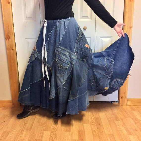 RESERVED Blue Jean Long Denim Maxi Skirt/Womens Plus Size