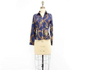 Ralph Lauren Blouse Vintage Ralph Lauren 90s Designer Blouse Navy Blue Blouse 1990s Peplum Blouse Equestrian Blouse Button Down m petite