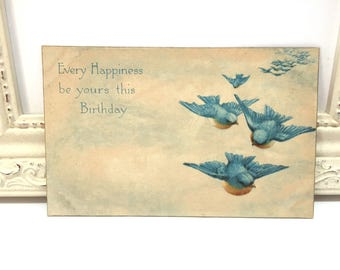 Vintage Birthday Postcard, Vintage Postcard, Paper Ephemera, Best Wishes Card, Birthday Card, Blue Birds Flying, Birthday Greetings, 1917