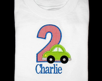 Custom Personalized Applique Birthday Number with CAR and NAME Shirt or Bodysuit - Red Mini Gingham, Royal Blue, and Lime Green