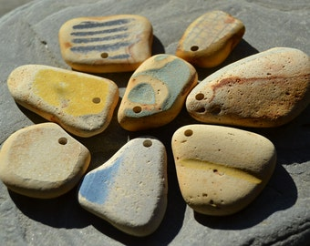 Genuine Beach Sea Pottery - Large - Drilled Pendants - Ceramic Pottery Jewelry Craft Supply
