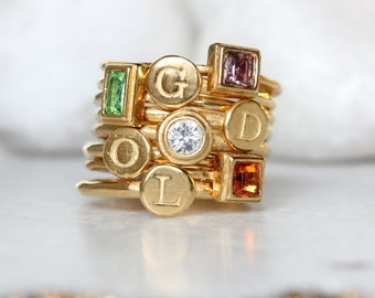 Stacking Mother's Initial Rings and Birthstone Rings in Gold Vermeil.  Set of 8 Stack Rings-4 Birthstone Rings & 4 Initial Stacking Rings.