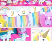 Unicorn Rainbow Printable Party Decor and Birthday Activity Kit Instant Download photo props, banner, cupcake wrappers, party favors, & more