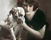 Antique dog and girl photo postcard, Edwardian girl and dog, Antique Staffordshire bullterrier photo postcard, Antique muzzle photo