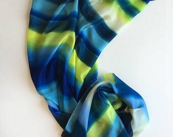 Silk scarf- Blue Yellow Stripes Hand painted silk shawl, Summer fashion, Bridal shawl painted, Luxury silk scarf, Lightweight scarf gift mom