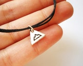 SALE -Silver Mountain bracelet, anklet or necklace -Hand Stamped Triangle Mountain Charm -Adventure Jewellery -Waxed cotton cord -5 colors