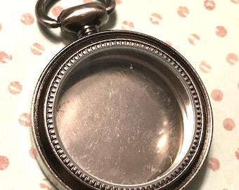 DIY Empty Pocket Watch Metal Bezel with Glass Top, steampunk pocket watch, photo bezel clock,  round metal deep bezel