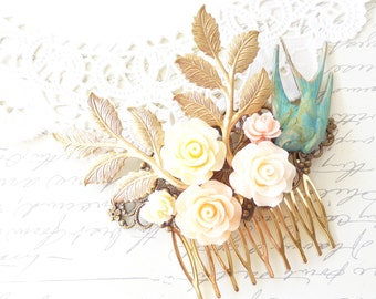 Verdigris Flying Sparrow Hair Comb - Flying Swallow Hair Comb - Bird Hair Comb - Leaf Branch Hair Comb -Flower Hair Comb - Bridal Hair Comb