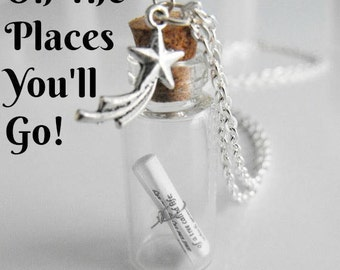 Grad Gift Oh The Places You'll Go Message in a Bottle Necklace