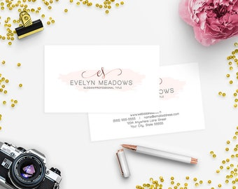 SALE 35% OFF Business Card Designs - 2 Sided Printable Business Card Design - Watercolor 103-17