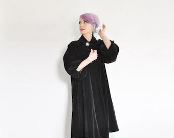 1940 plush black velvet swing coat . rhinestone studded brooch jacket .small.medium.large .sale