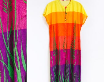 Vintage 1970s Ombre Yellow to Purple Rainbow Maxi Dress/ Coverup Size L