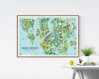 Dogs Of the World Map 36x24 art print