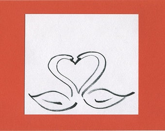 heart of swans, about love, original ink drawing card
