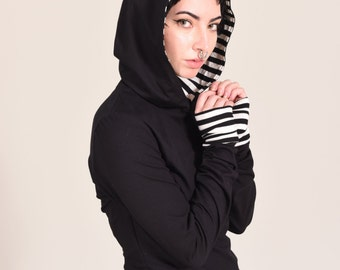 Long Fitted Tee T-shirt Tshirt Hooded Hoodie Hood Top Extra Xtra Very Long Sleeves Black White Stripe Striped Cuffs Goth Gothic Custom Size