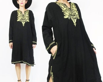 Ethnic Embroidered Tunic Dress Hippie Boho Embroidered Dress Gold Black Wool Dress Long Sleeve Dress Pullover Loose Kaftan Winter (L)