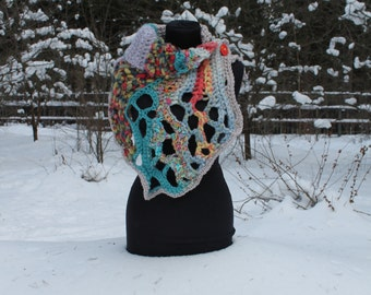 Boho Colorful Chunky Crochet Cowl Scarf Capelet Neck Warmer, Multicolor crochet scarf