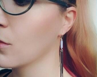 Long Opal Earrings, Chain Statement Earrings, Geometric Gemstone Earrings