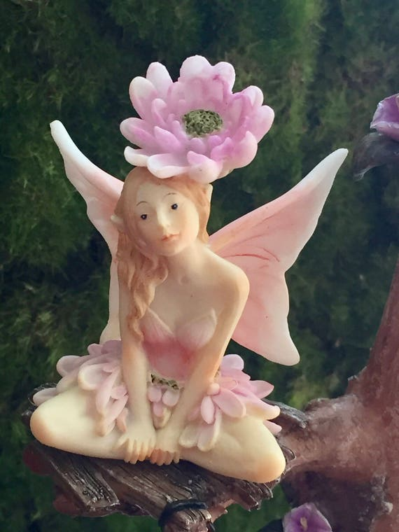 SALE Fairy Figurine, Flower Fairy Collection, Pink and White Wings, Flower on Head, 4545, Fairy Garden Accessory, Mini Gardening