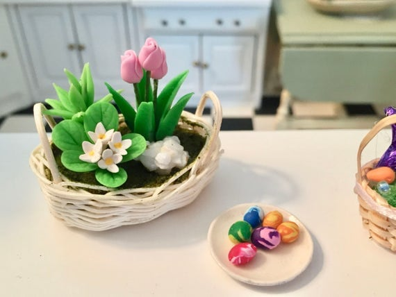Miniature Basket of Flowers, Tulips and Violets, Dollhouse Miniatures, 1:12 Scale, Flower Arrangement, Mini Flowers in Wicker Basket
