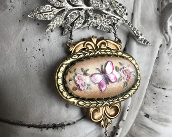 flutter - butterfly necklace vintage intaglio glass reverse painted goofus art deco rhinestone pink quartz gemstone, the french circus