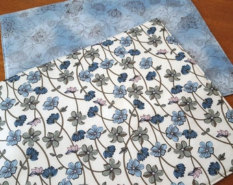 Spring Placemats - Blue Floral Placemats - Reversible Placemats - Set of 2 - Heat Resistant Placemats