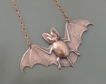 Copper Necklace - Bat Necklace - Bat Jewelry - Statement Necklace - Large Pendant Necklace - Handmade Jewelry
