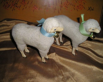 "Sweet LG. Pr.Wooly Stick Leg Sheep/Lambs Holiday Table/ Mantel Spiritual Easter Decor 5""x6"""